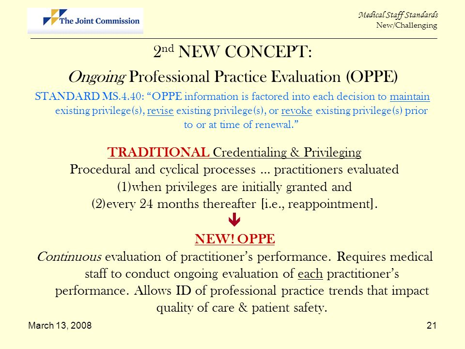 2nd NEW CONCEPT: Ongoing Professional Practice Evaluation (OPPE) 