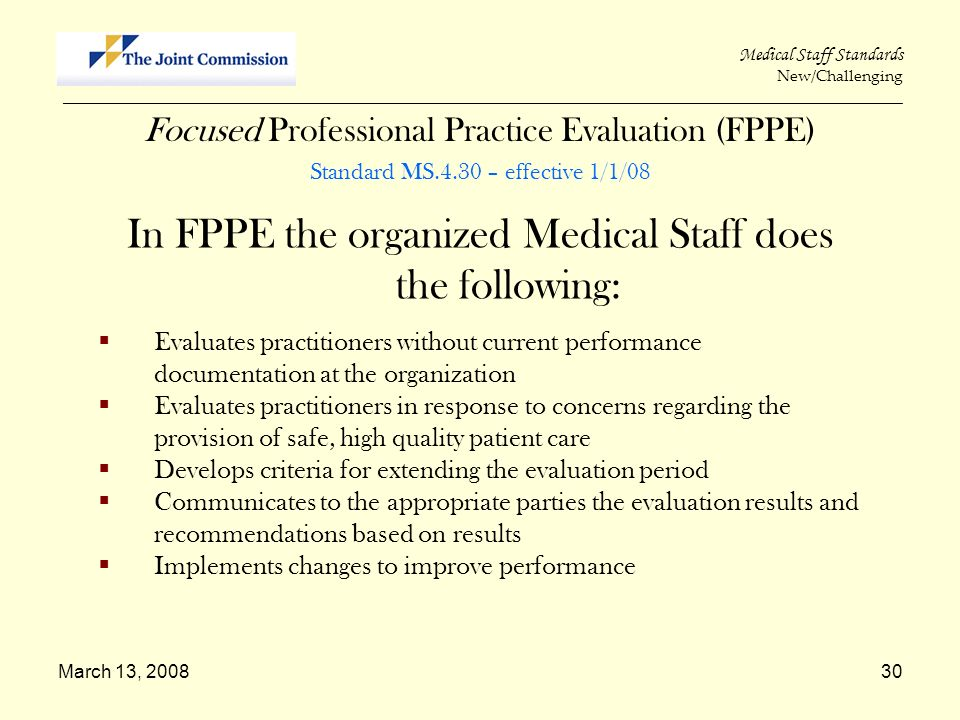 In FPPE the organized Medical Staff does the following:
