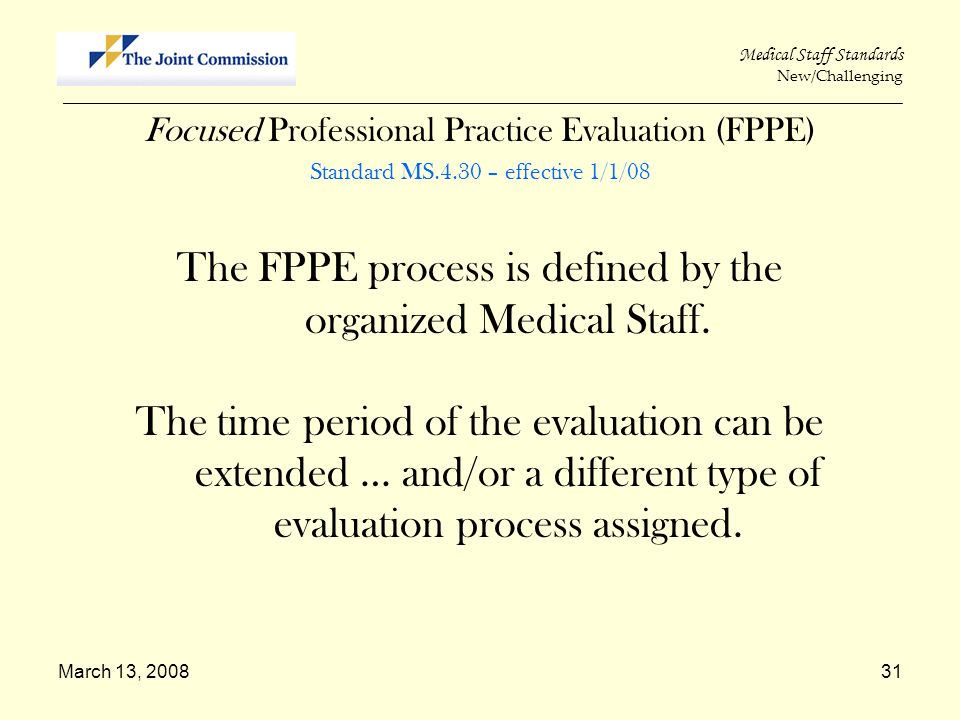 The FPPE process is defined by the organized Medical Staff.
