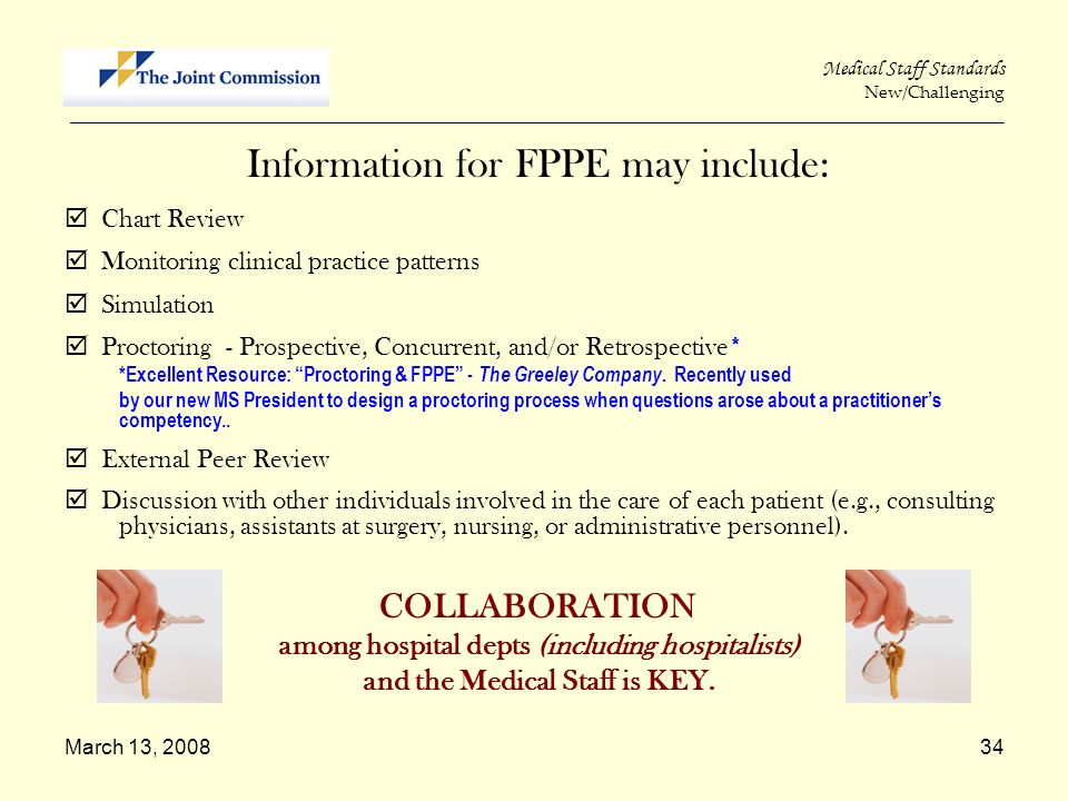 Information for FPPE may include: