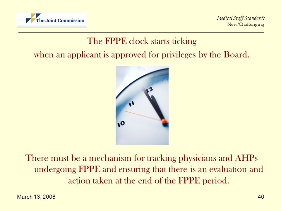 The FPPE clock starts ticking