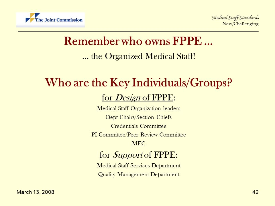 Remember who owns FPPE … Who are the Key Individuals/Groups