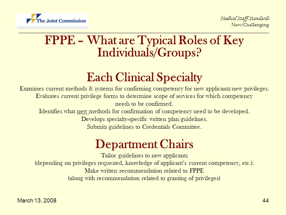 Each Clinical Specialty