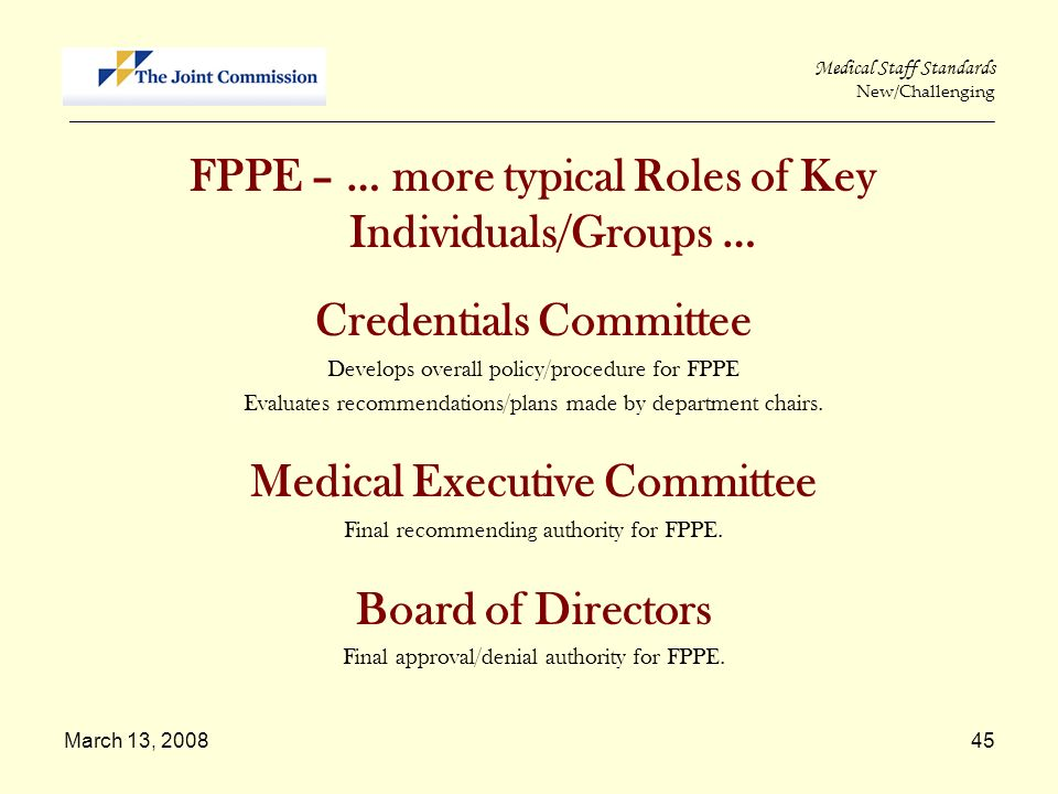 Credentials Committee Medical Executive Committee