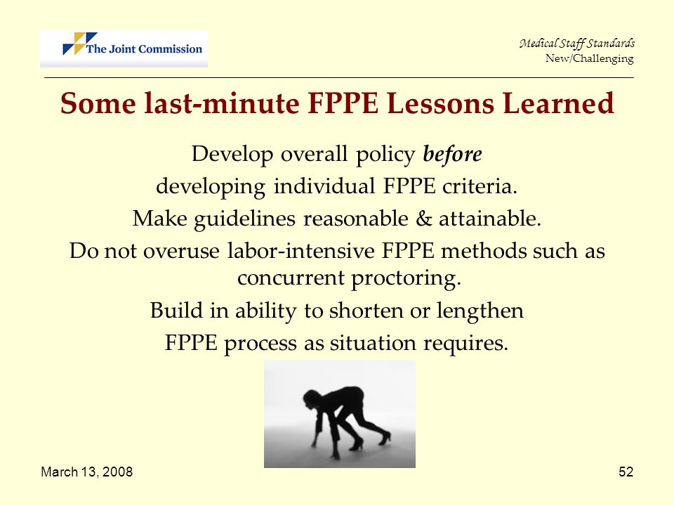 Some last-minute FPPE Lessons Learned