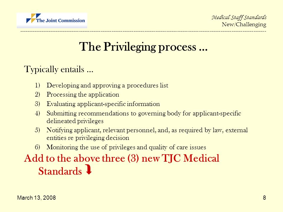 The Privileging process …