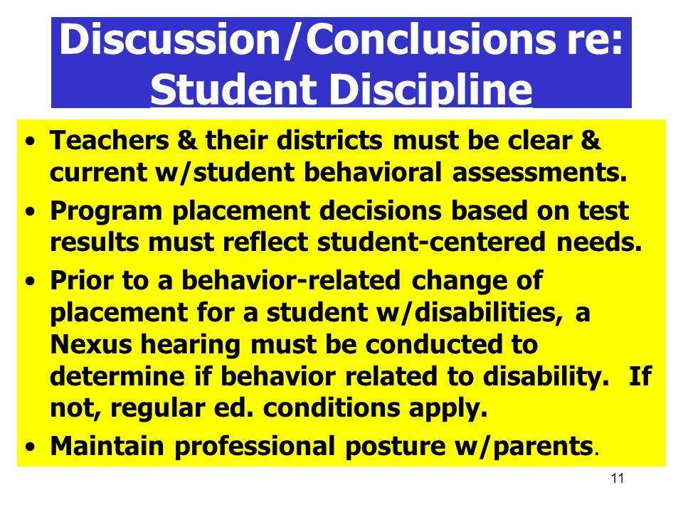 Discussion/Conclusions re: Student Discipline