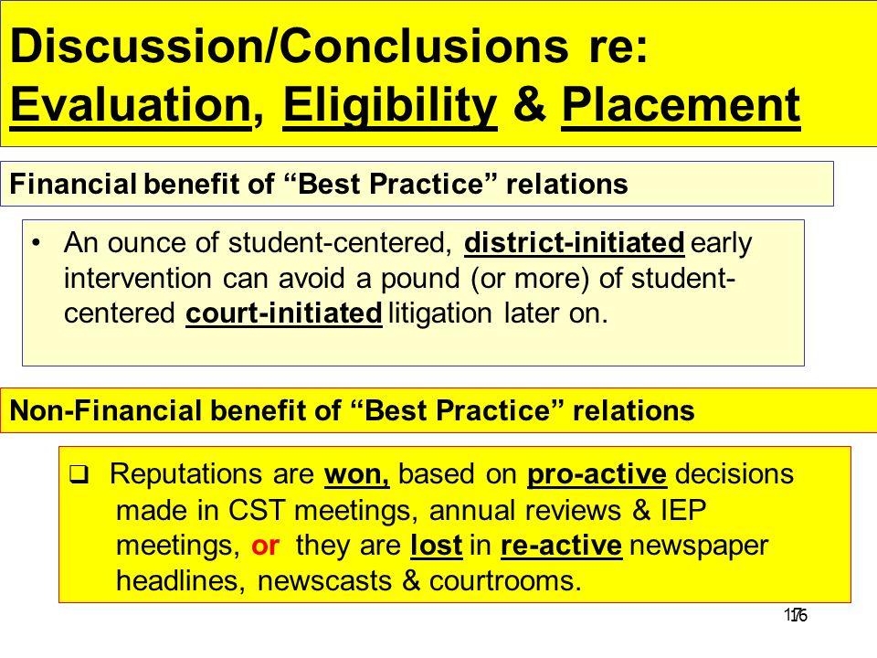 Discussion/Conclusions re: Evaluation, Eligibility & Placement