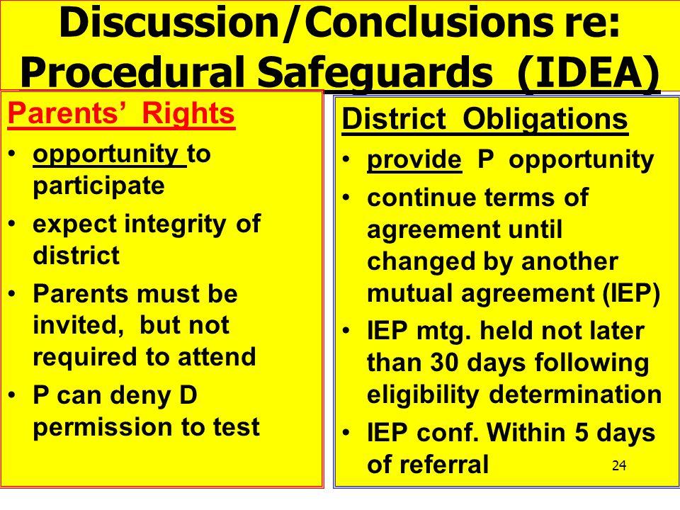 Discussion/Conclusions re: Procedural Safeguards (IDEA)