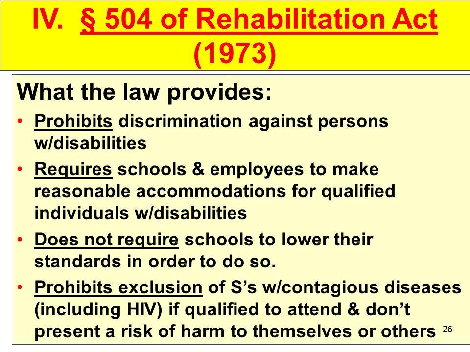 IV. § 504 of Rehabilitation Act (1973)