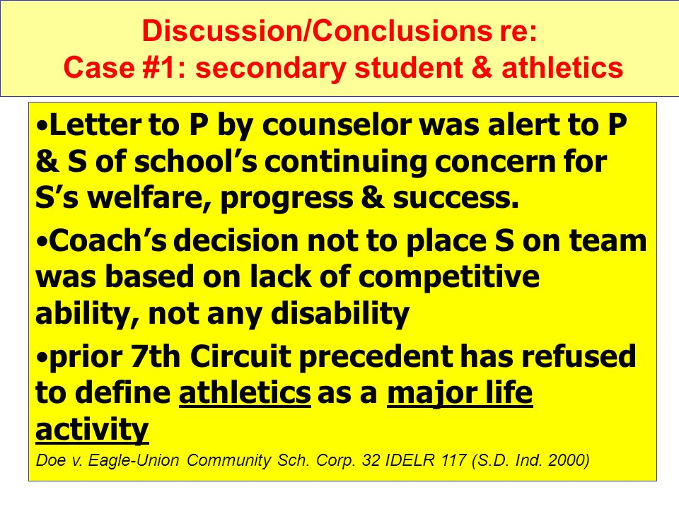 Discussion/Conclusions re: Case #1: secondary student & athletics
