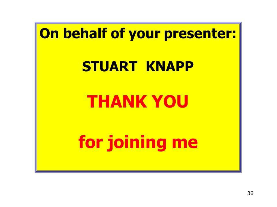 On behalf of your presenter: