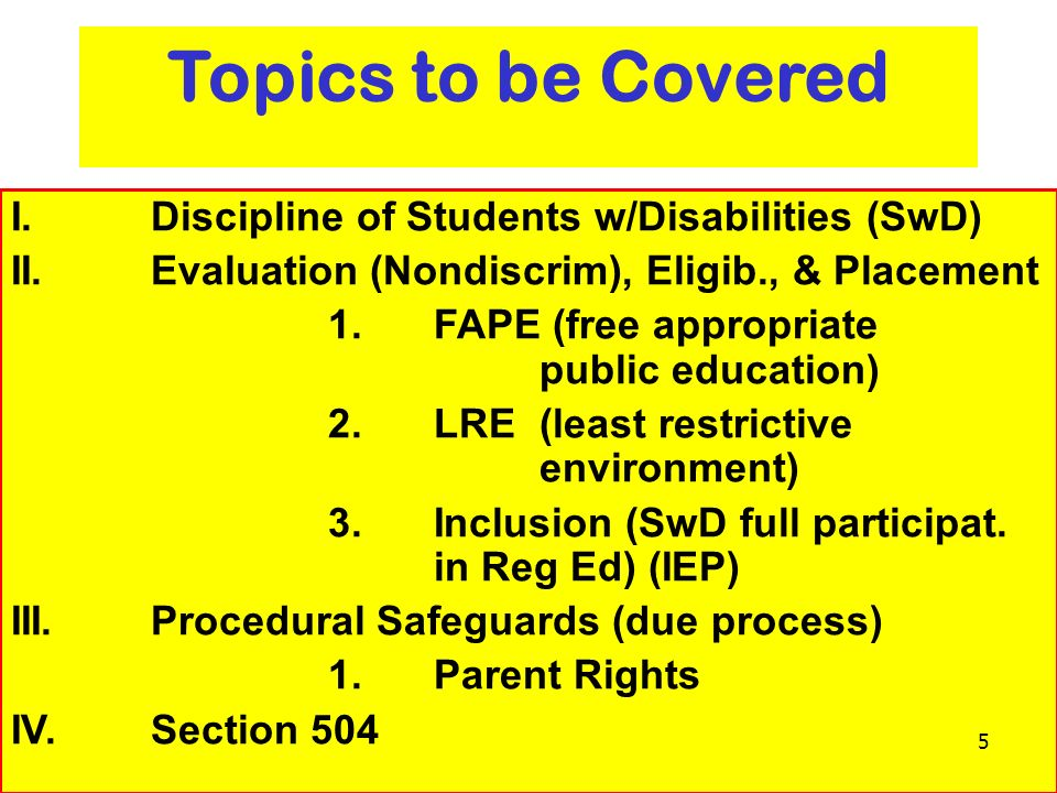 Topics to be Covered I. Discipline of Students w/Disabilities (SwD)