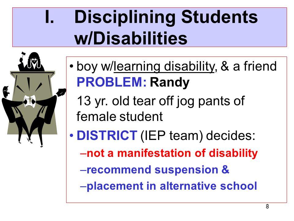 I. Disciplining Students w/Disabilities