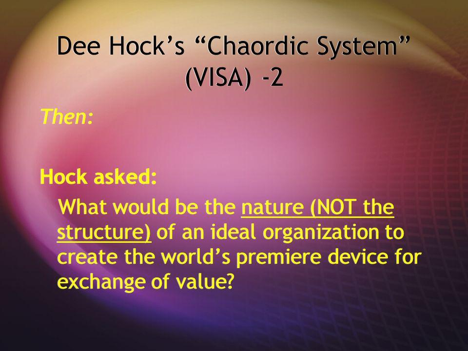 Dee Hock's Chaordic System (VISA) -2