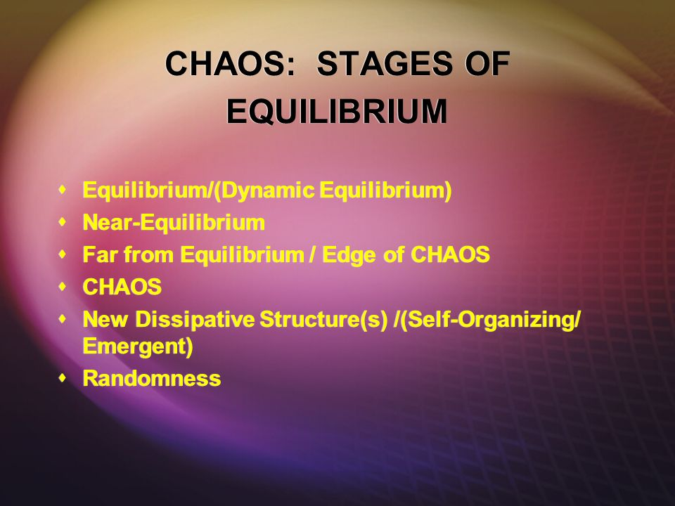 CHAOS: STAGES OF EQUILIBRIUM