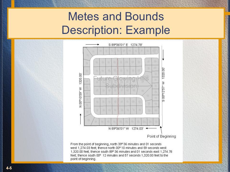 Metes and Bounds Description: Example