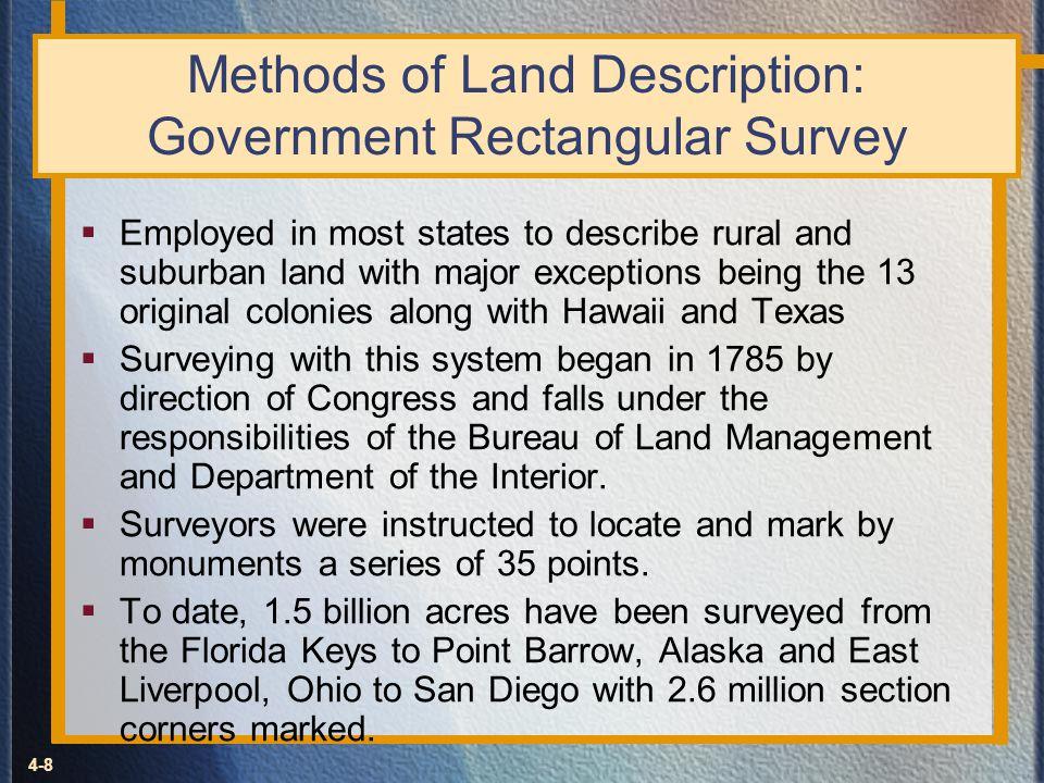 Methods of Land Description: Government Rectangular Survey