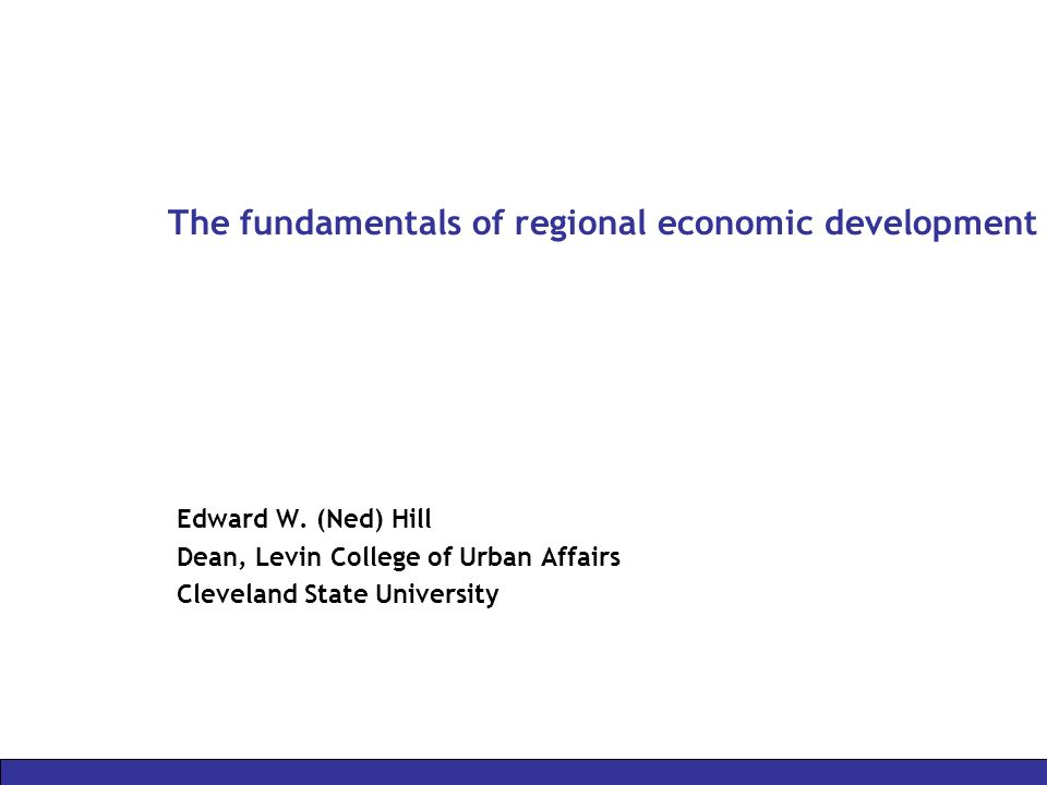 The fundamentals of regional economic development