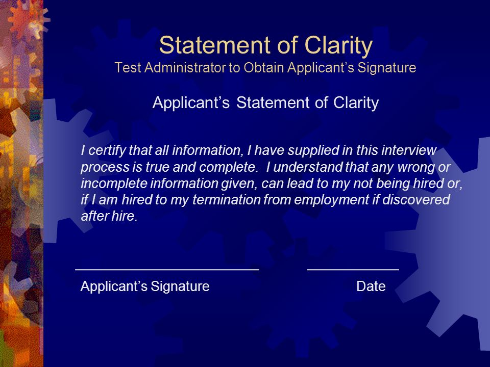 Applicant's Statement of Clarity