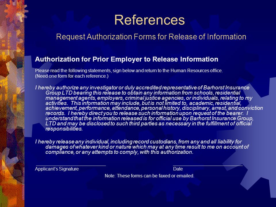 References Request Authorization Forms for Release of Information