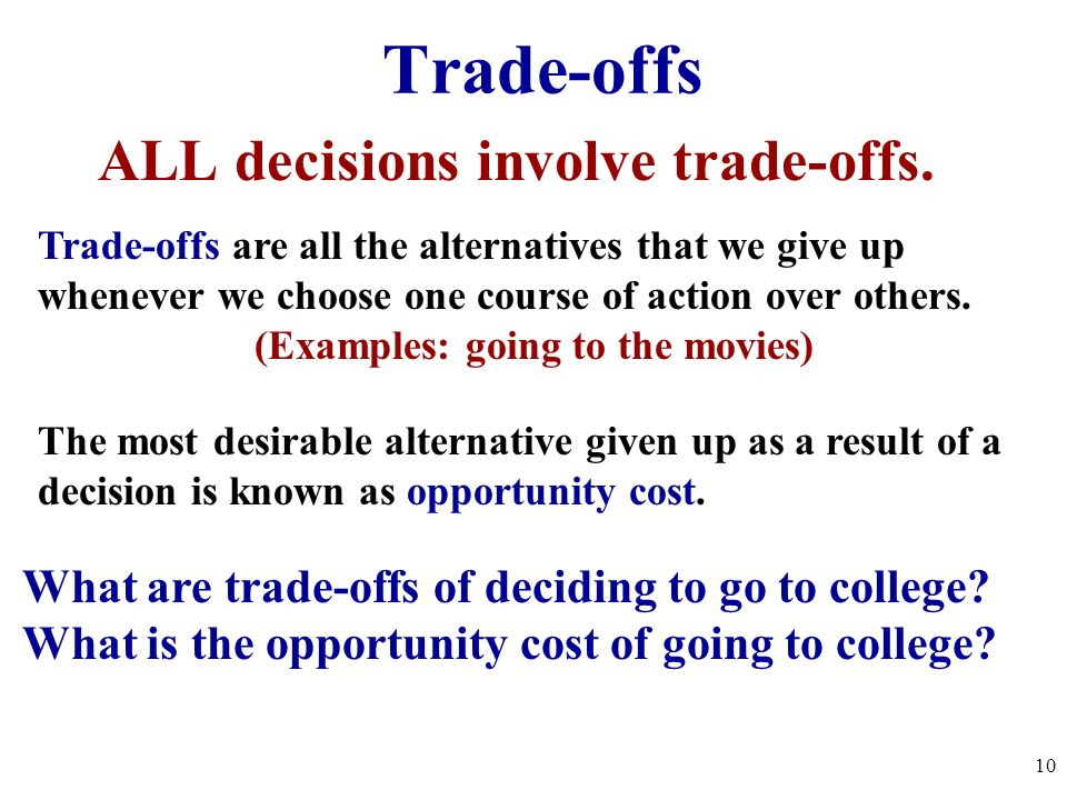 ALL decisions involve trade-offs. (Examples: going to the movies)