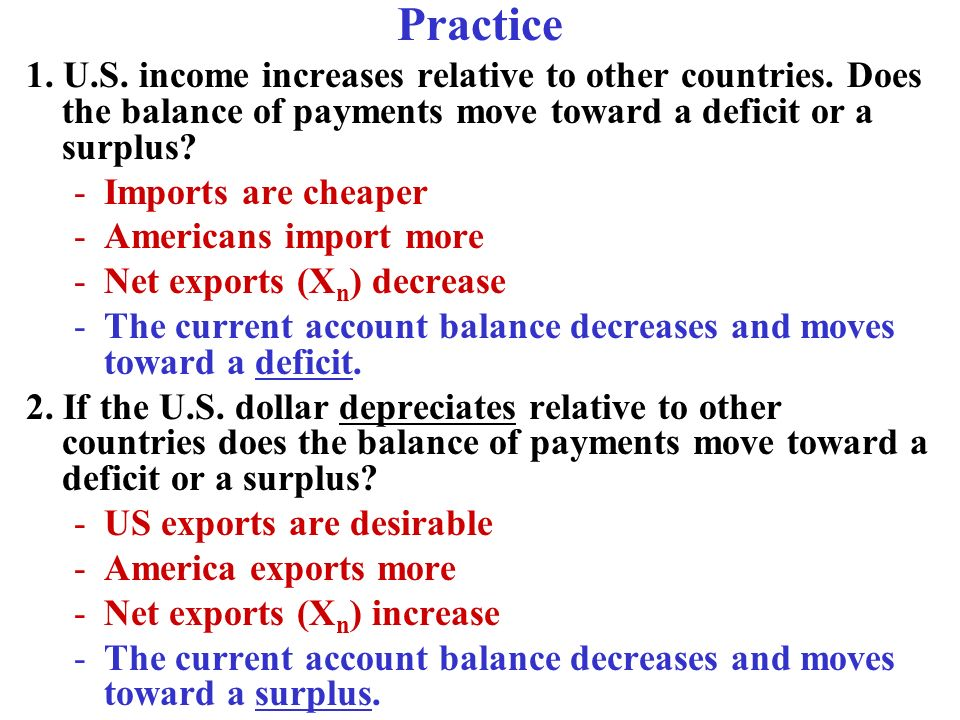 Practice 1. U.S. income increases relative to other countries. Does the balance of payments move toward a deficit or a surplus