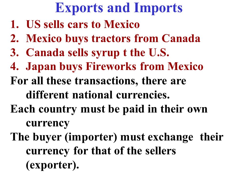Exports and Imports US sells cars to Mexico