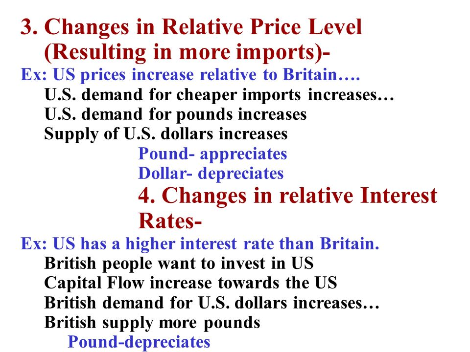 3. Changes in Relative Price Level (Resulting in more imports)-