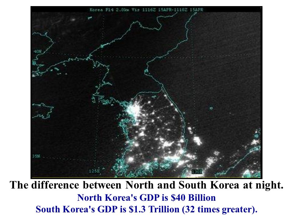 South Korea s GDP is $1.3 Trillion (32 times greater).