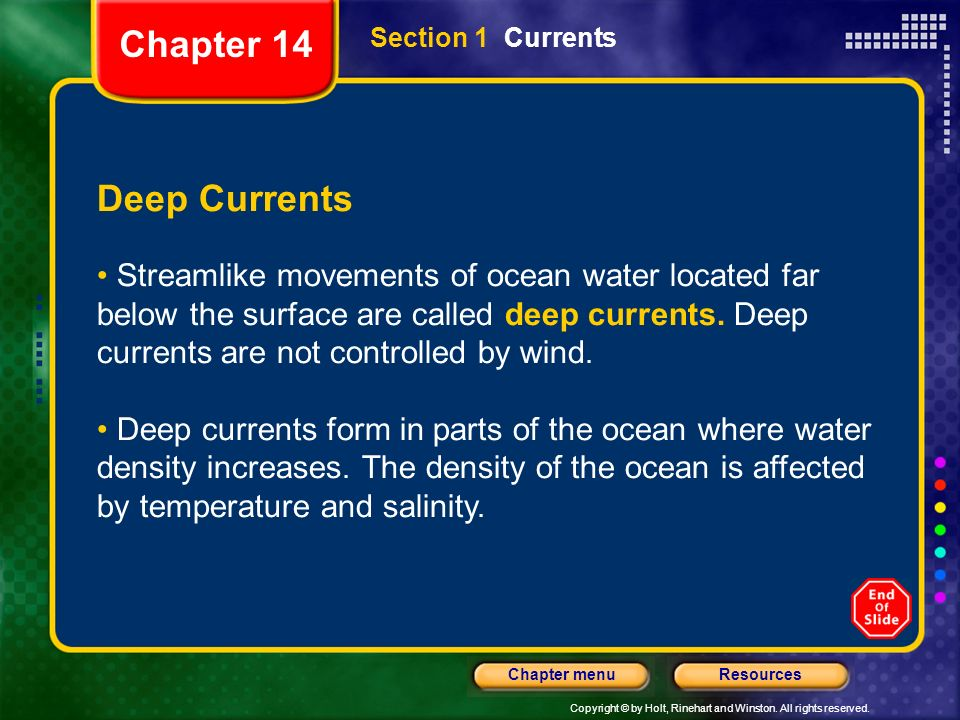 Chapter 14 Section 1 Currents. Deep Currents.
