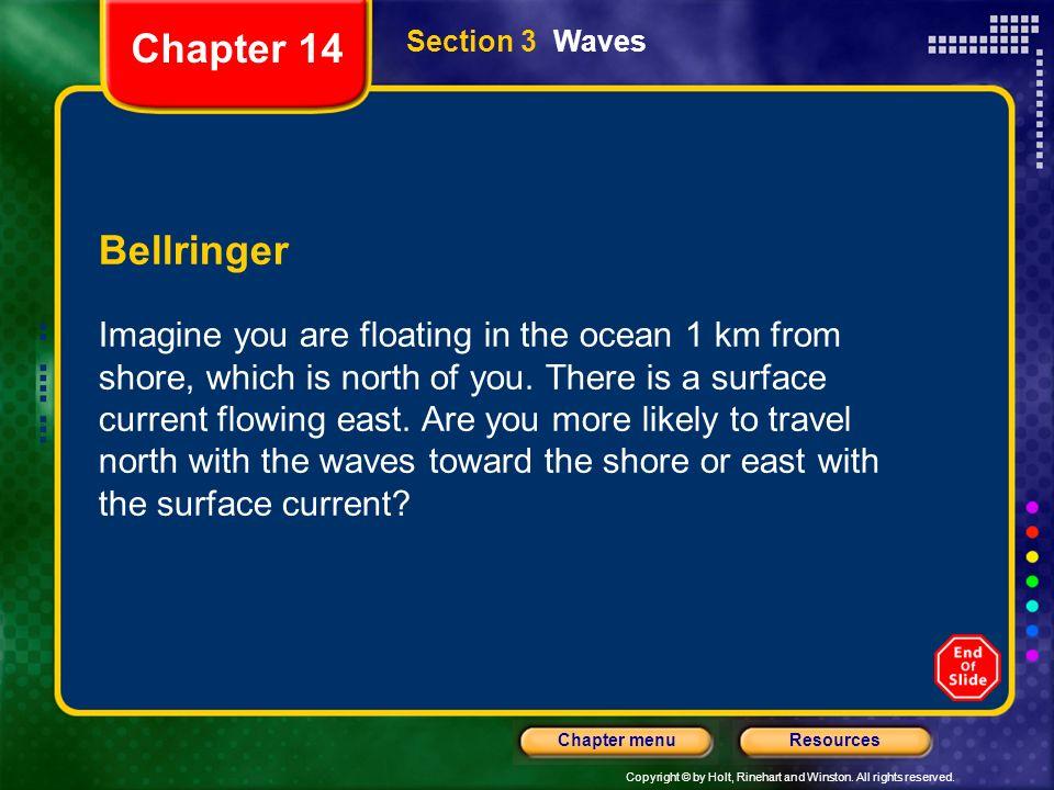 Chapter 14 Section 3 Waves. Bellringer.