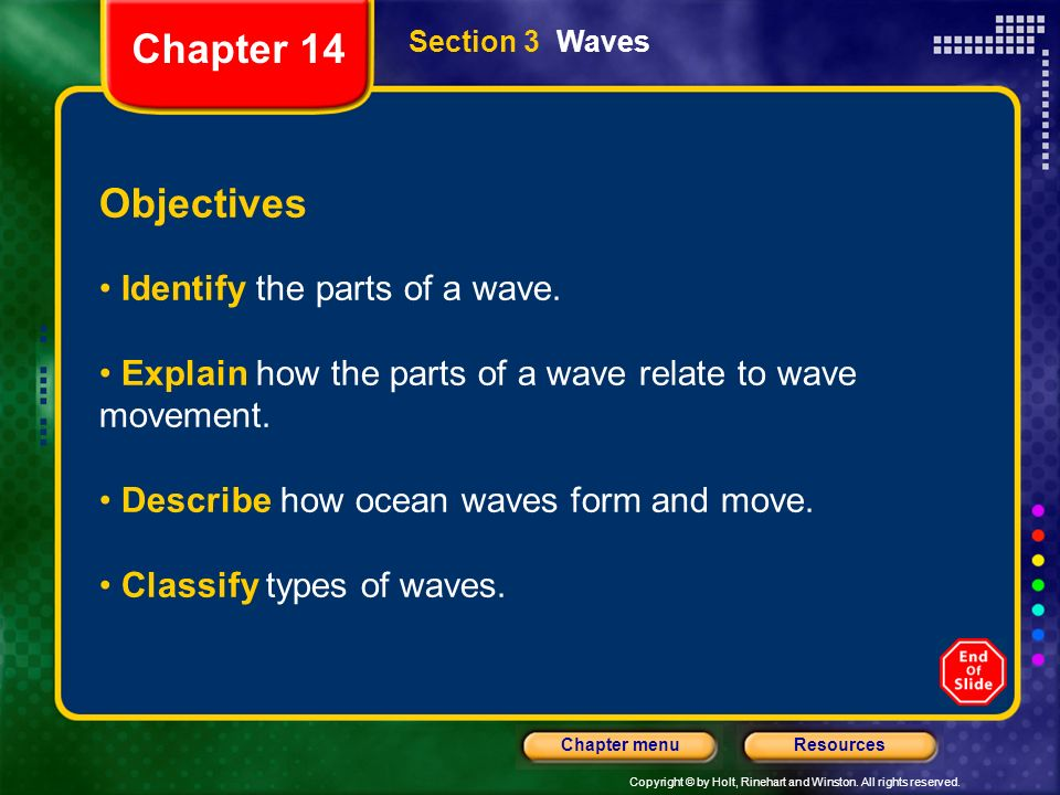 Chapter 14 Objectives Identify the parts of a wave.