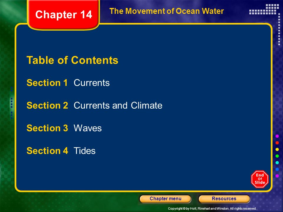 Chapter 14 Table of Contents Section 1 Currents
