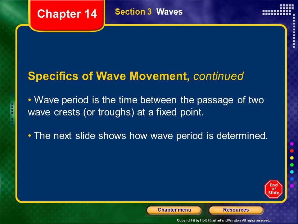 Specifics of Wave Movement, continued