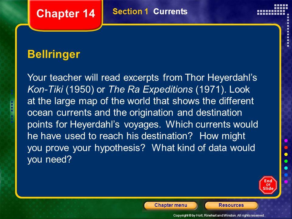 Chapter 14 Section 1 Currents. Bellringer.