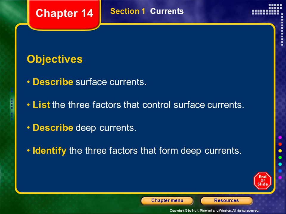 Chapter 14 Objectives Describe surface currents.