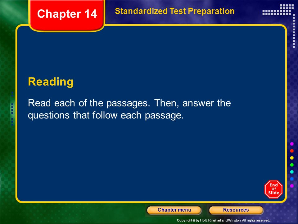 Chapter 14 Standardized Test Preparation. Reading.