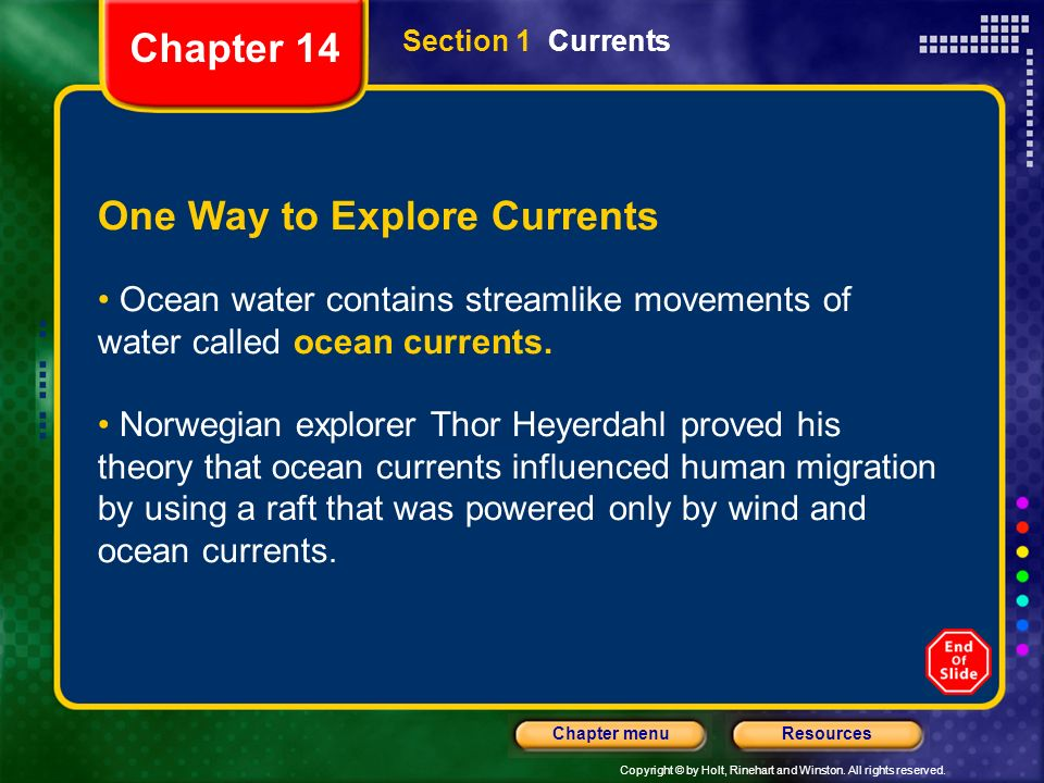 One Way to Explore Currents