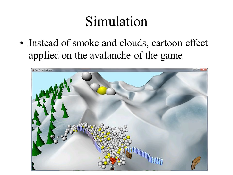 Simulation Instead of smoke and clouds, cartoon effect applied on the avalanche of the game
