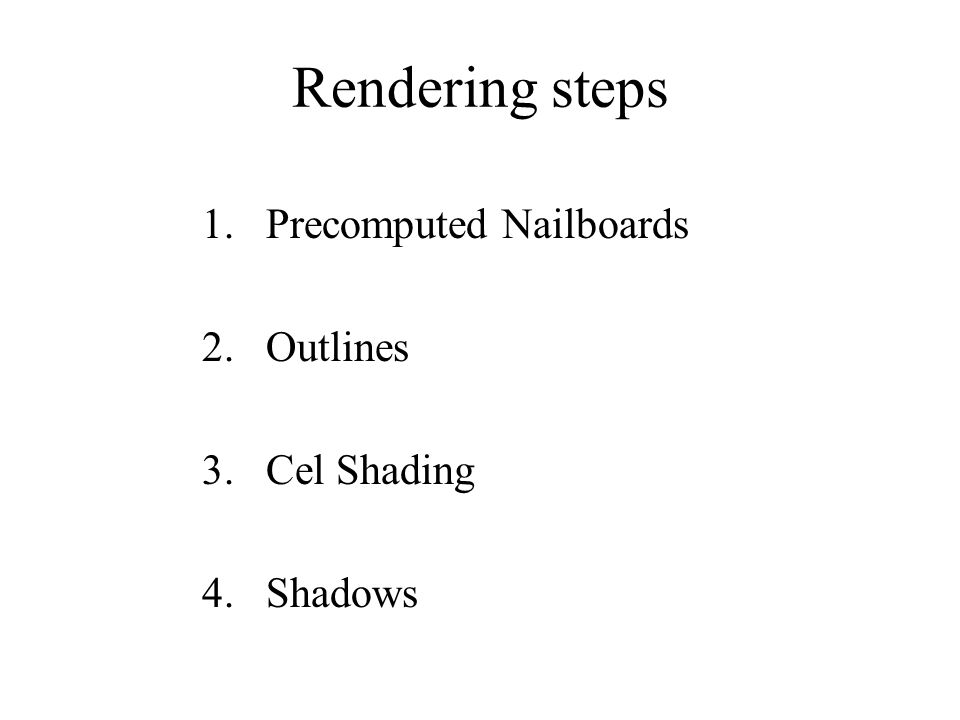 Rendering steps Precomputed Nailboards Outlines Cel Shading Shadows