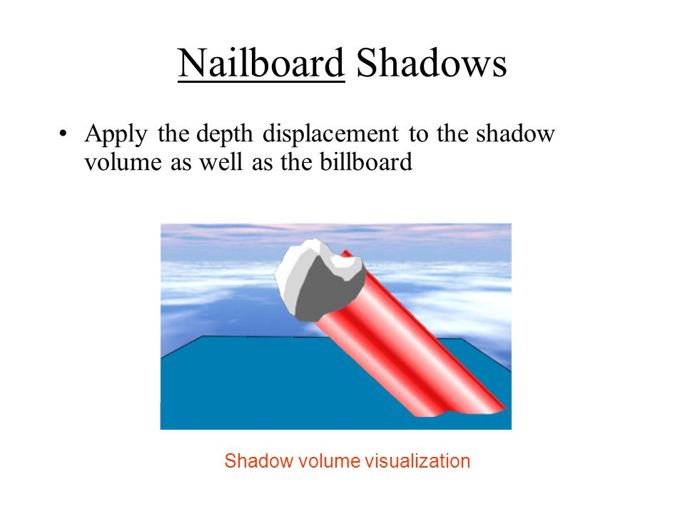 Nailboard Shadows Apply the depth displacement to the shadow volume as well as the billboard.