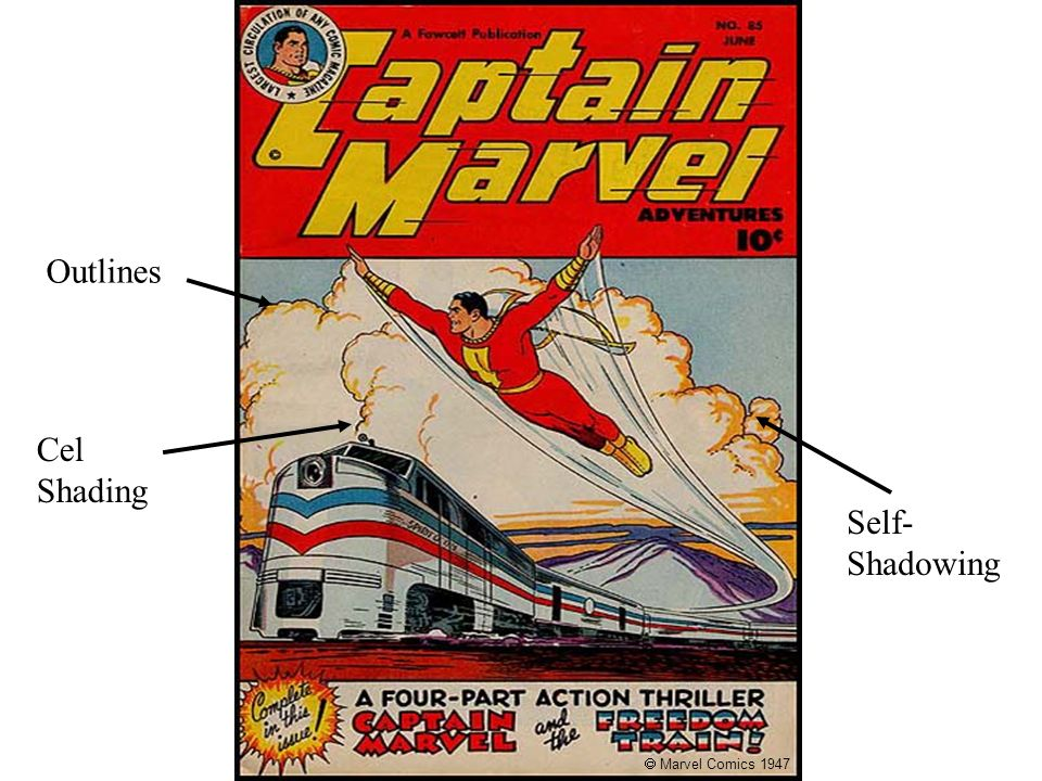Captain Marvel, June 1947 Outlines Cel Shading Self-Shadowing
