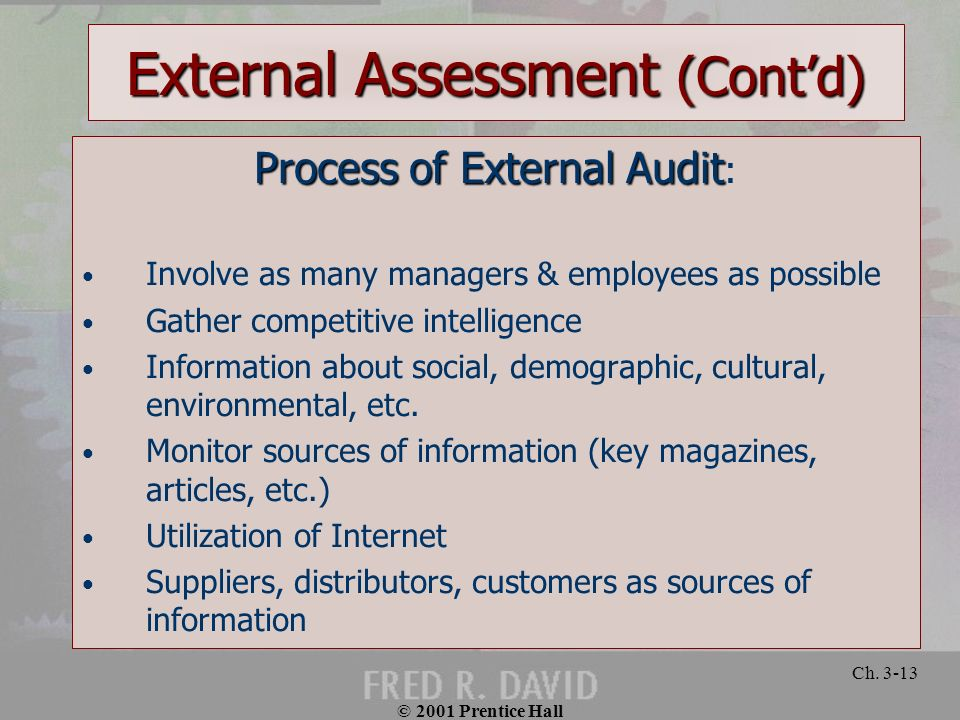External Assessment (Cont'd)
