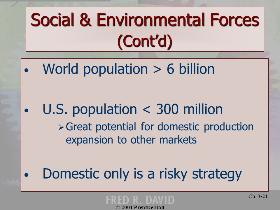 Social & Environmental Forces (Cont'd)