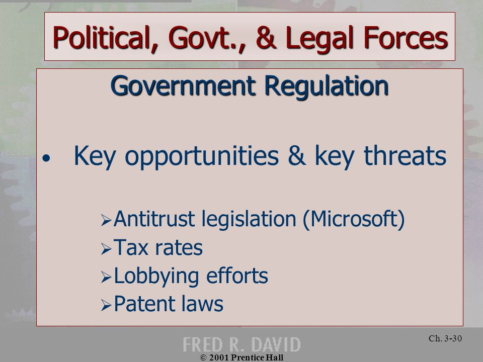 Political, Govt., & Legal Forces