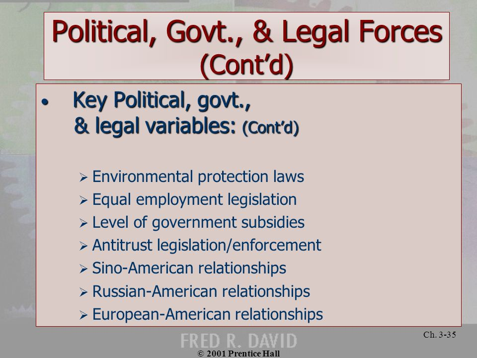 Political, Govt., & Legal Forces (Cont'd)