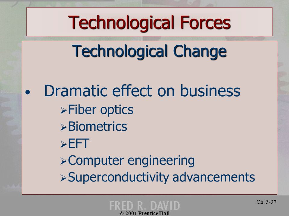 Technological Forces Technological Change Dramatic effect on business