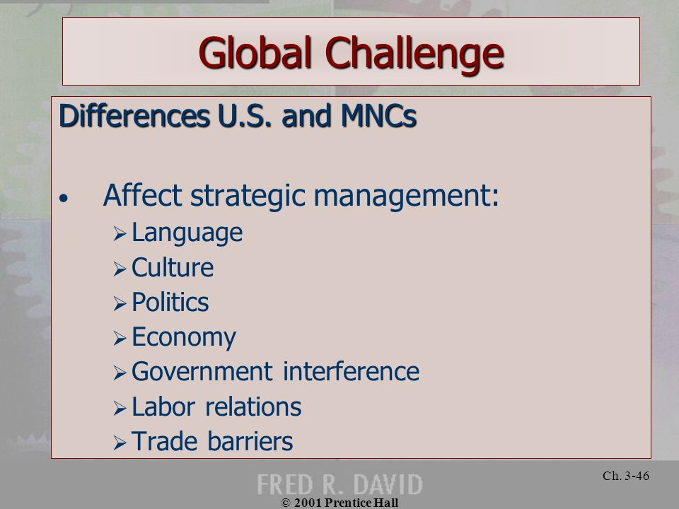 Global Challenge Differences U.S. and MNCs
