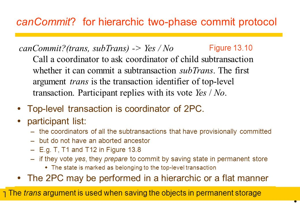 canCommit for hierarchic two-phase commit protocol